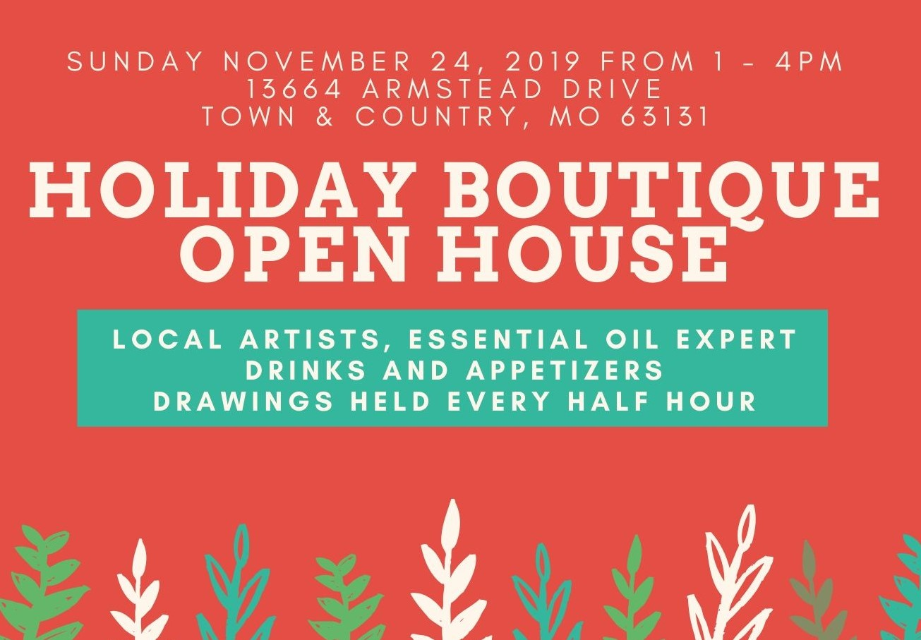Holiday boutique open house with address cropped